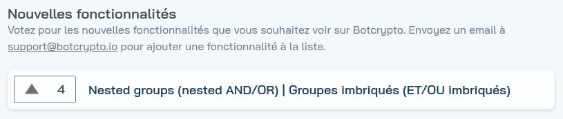 Capture d'écran de la page de suggestion de fonctionnalités
